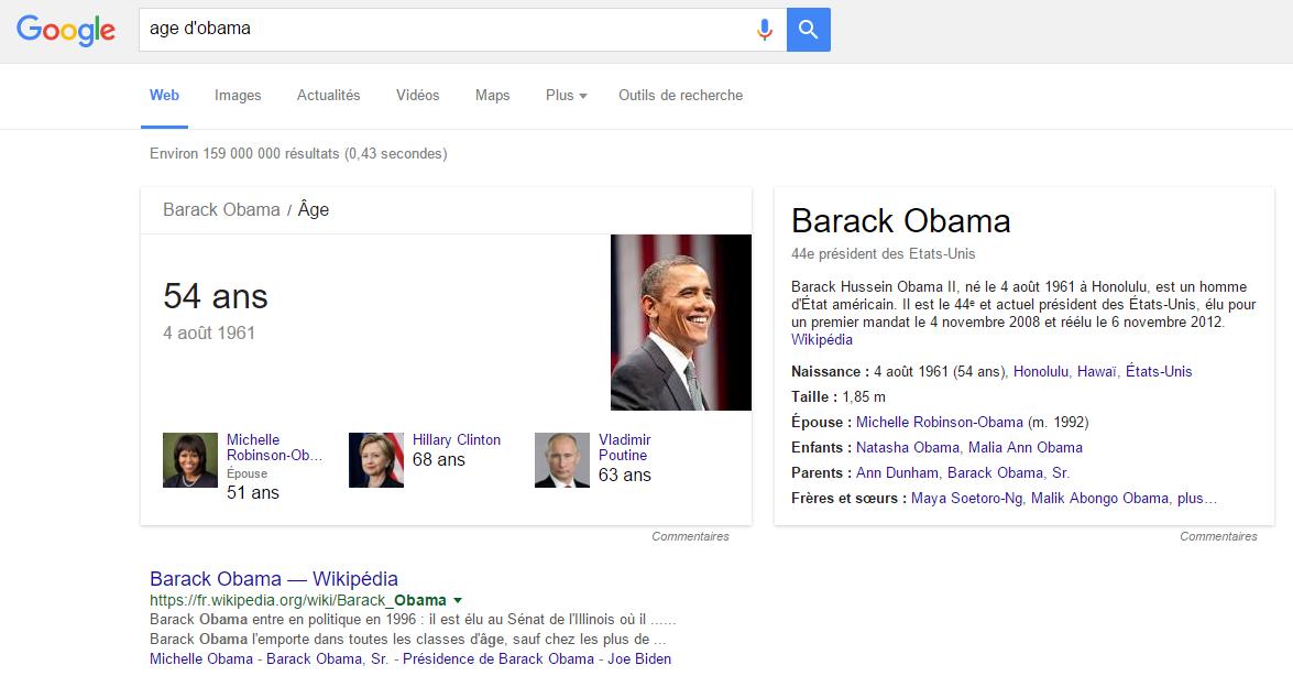 Google affiche un rich snippet sur des requêtes spécifiques