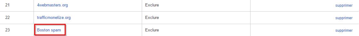 Le filtre Boston spam dans la vue Google Analytics