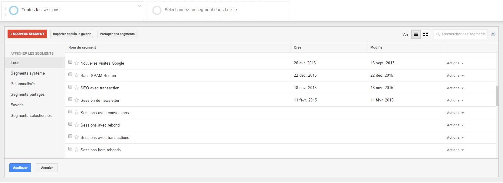 Cliquer sur le bouton rouge pour créer un segment dans Google Analytics