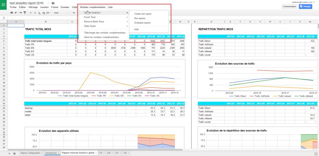 Le menu de Google Spreadheets avec l'add-on Analytics