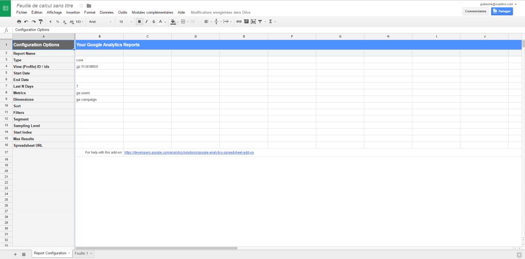 Affichage de l'écran de configuration du rapport Google Analytics dans spreadsheets