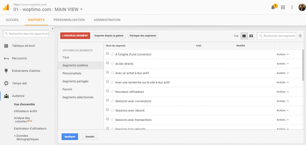 Ecran de choix des segments dans Google Analytics