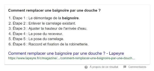 featured snippet liste ordonnée exemple 2