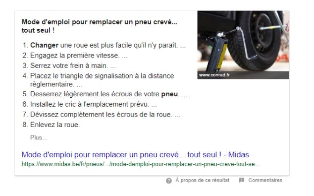 Featured snippet liste ordonnée exemple 1