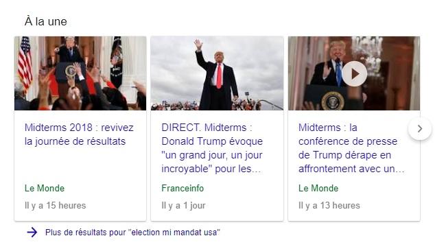 Extrait recherche universelle Google Actualités