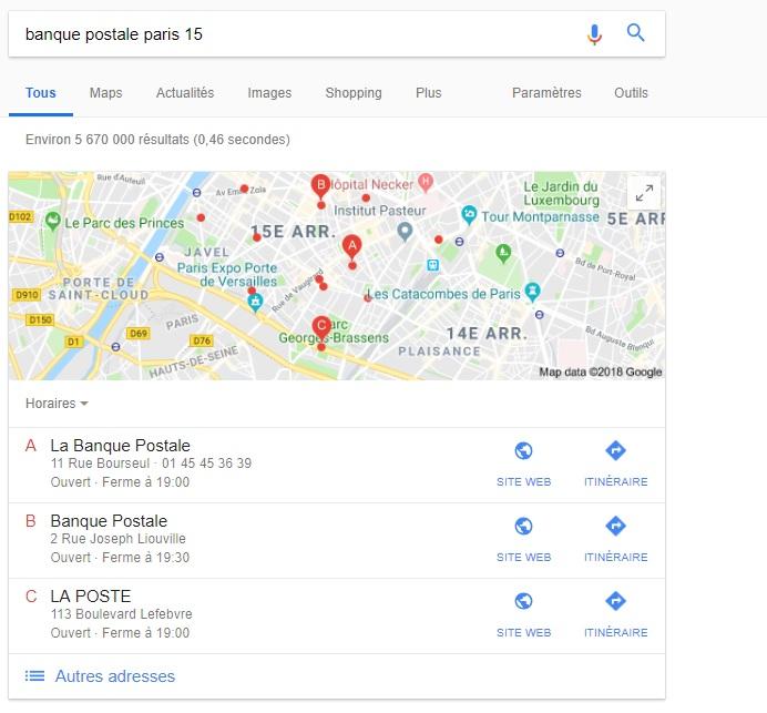Exemple snippet extrait recherche universelle Google Maps