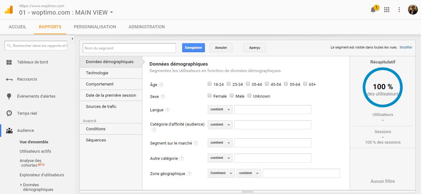 Ecran de paramétrage d'un segment dans Google Analytics