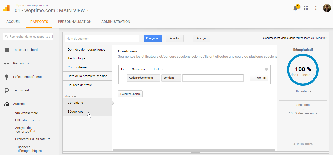 Les options avancées de paramétrage des segments dans Google Analytics