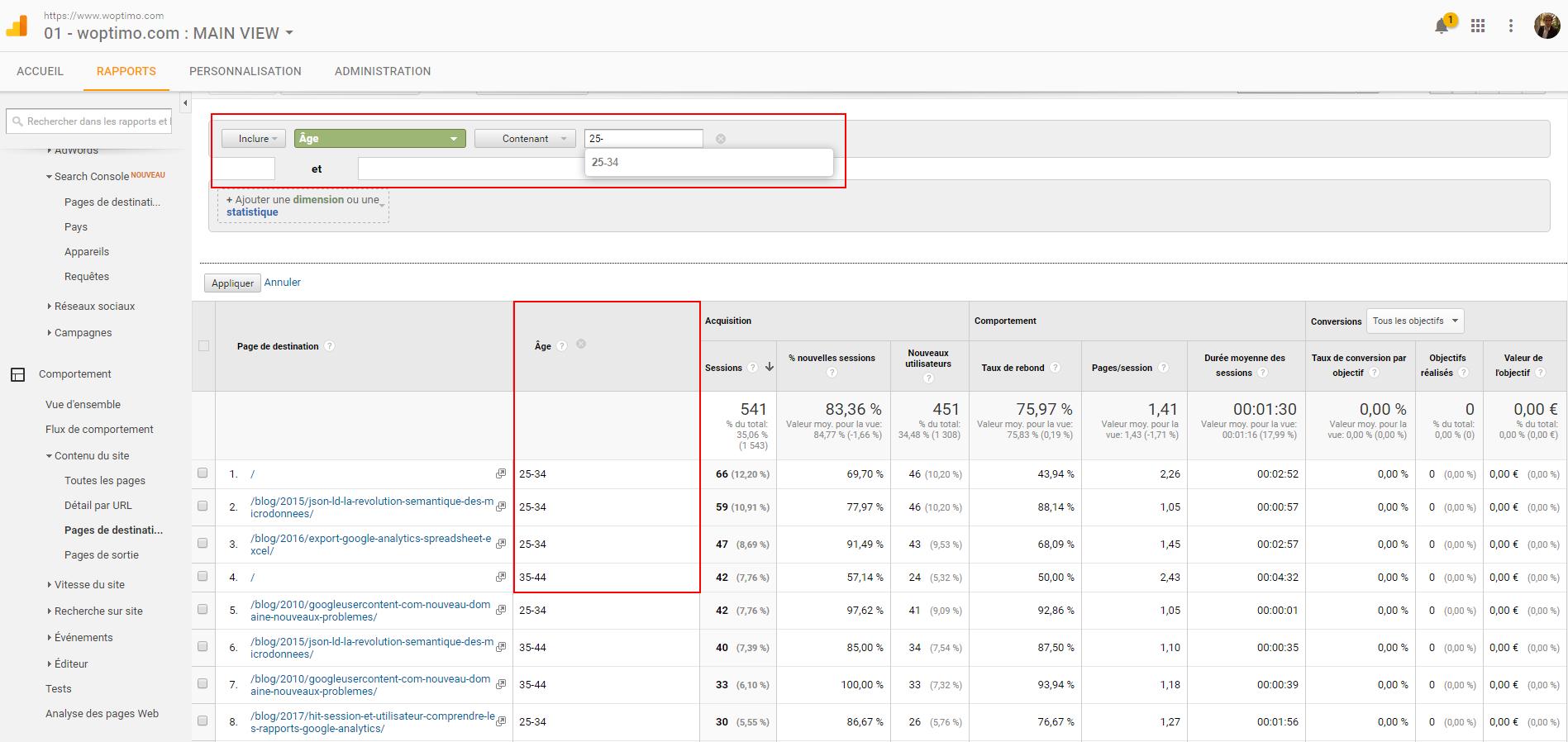 Un rapport Google Analytics avec dimension secondaire et filtre avancé