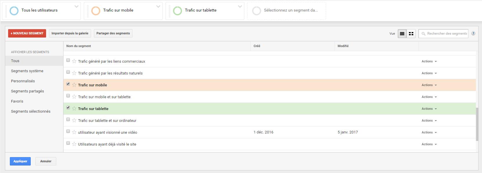 Ecran Google Analytics pour paramétrer un segment par appareil