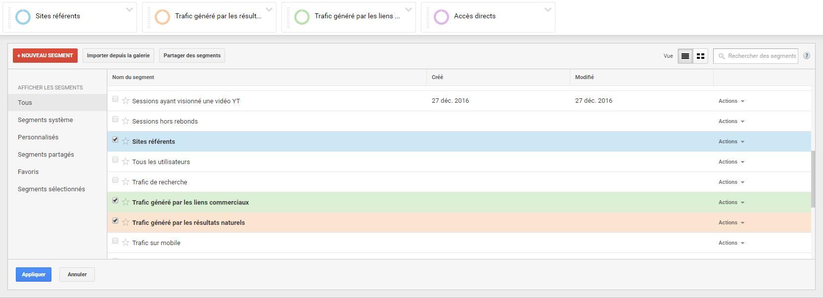 Ecran Google Analytics pour configurer un segment par source d'acquisition