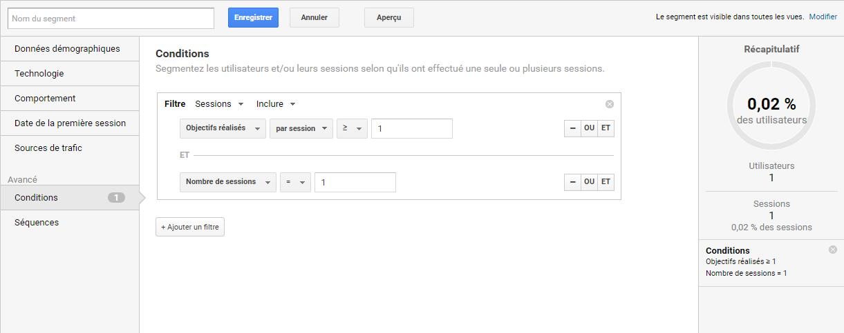 Ecran de Google Analytics pour configurer un segment par nombre de visites avant conversion