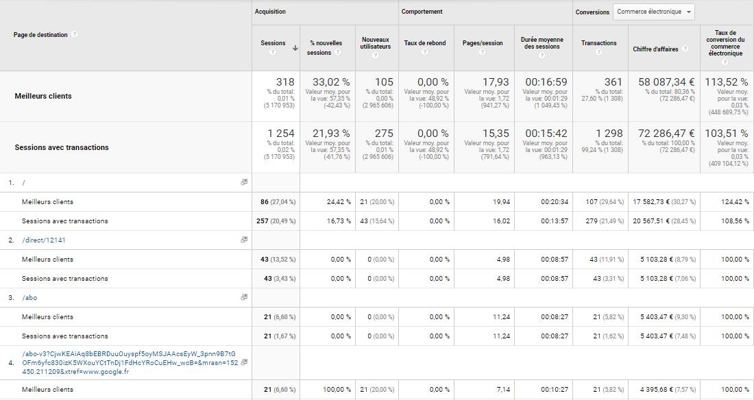 Rapport Google Analytics de comparaison du trafic meilleurs clients vs les sessions avec conversions