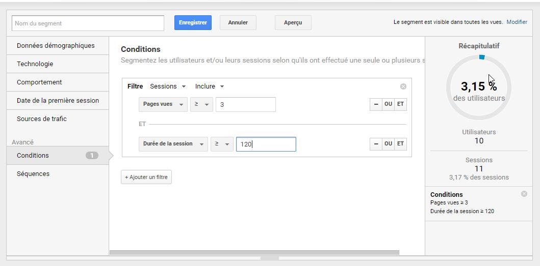 Ecran de configuration du segment très engagé de Google Analytics