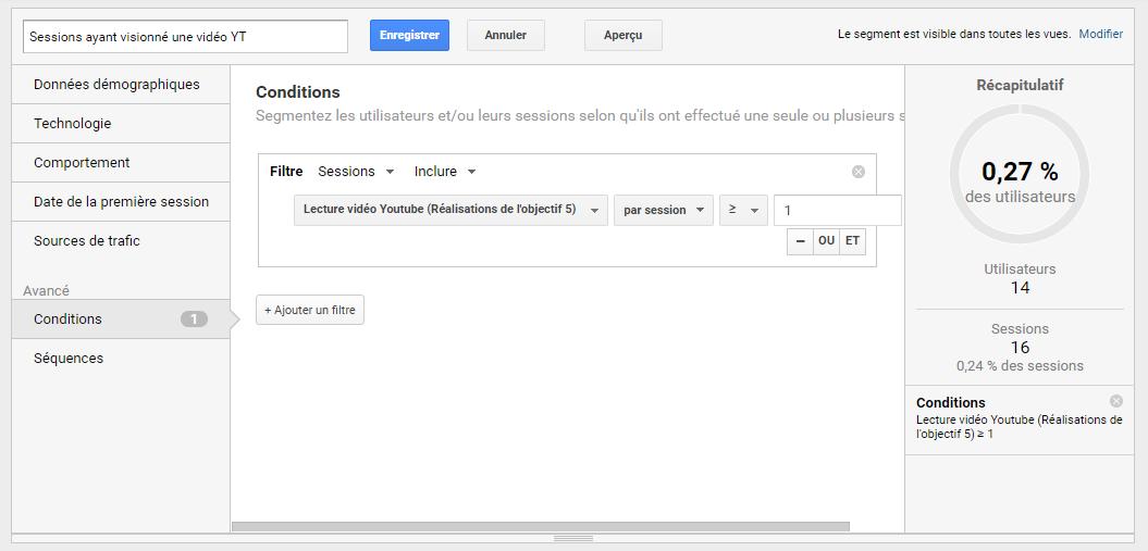 Ecran Google Analytics de configuration de segment d'événement sur le site