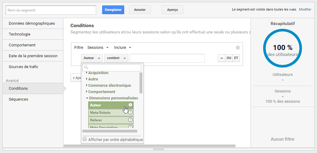 Ecran de configuration du segment d'auteur par article dans Google Analytics