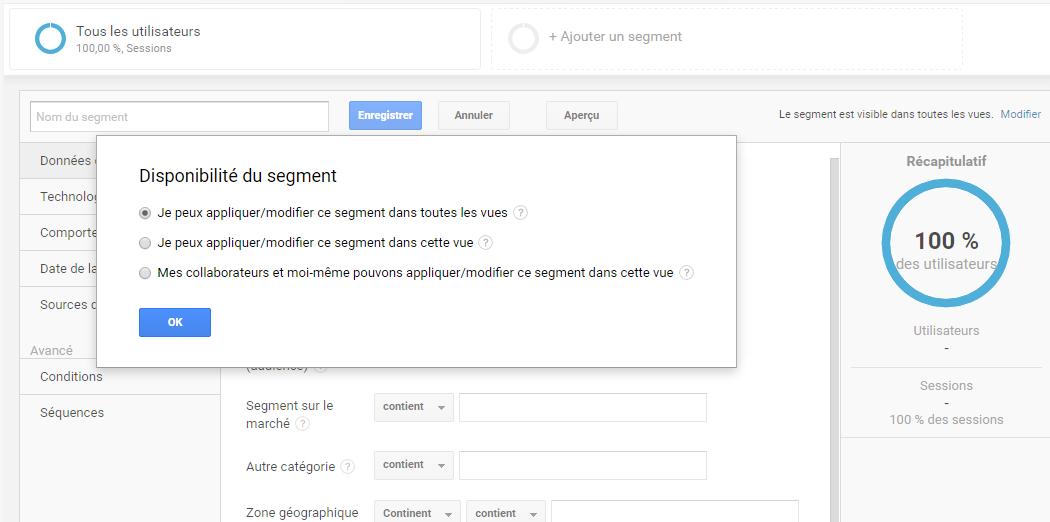 Ecran Google Analytics permettant le partage d'un segment créé