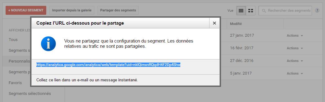 Ecran de partage de l'URL de paramétrage d'un segment dans Google Analytics